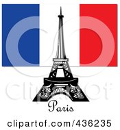 Royalty Free RF Clipart Illustration Of The Eiffel Tower Against The French Flag And Above Paris Text