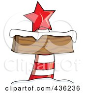 Royalty Free RF Clipart Illustration Of A Blank Red And White North Pole Sign With Snow And A Red Star by Pams Clipart