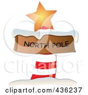 Red And White North Pole Sign With Snow And An Orange Star