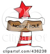 Red And White North Pole Sign With Snow And A Red Star