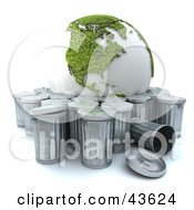 Green Recycled 3d Globe Being Tossed Out With The Trash