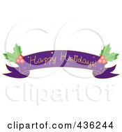 Purple Happy Holidays Ribbon Banner With Holly