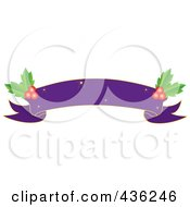 Purple Blank Christmas Ribbon Banner With Holly