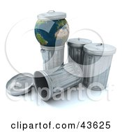 3d Globe Resting On A Trash Can With A Lid On Top