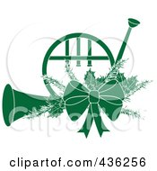 Royalty Free RF Clipart Illustration Of A Green Christmas French Horn With Holly And A Bow