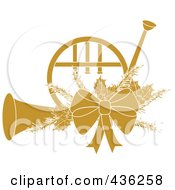 Royalty Free RF Clipart Illustration Of A Yellow Christmas French Horn With Holly And A Bow
