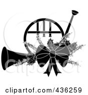 Royalty Free RF Clipart Illustration Of A Black And White Christmas French Horn With Holly And A Bow