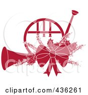 Royalty Free RF Clipart Illustration Of A Dark Red Christmas French Horn With Holly And A Bow