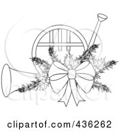 Royalty Free RF Clipart Illustration Of An Outlined Christmas French Horn With Holly And A Bow