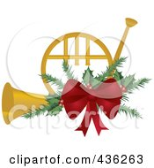 Royalty Free RF Clipart Illustration Of A Golden Christmas French Horn With Holly And A Red Bow