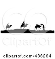 Black And White Silhouetted Three Wise Men With Their Camels