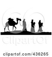 Royalty Free RF Clipart Illustration Of A Black And White Silhouette Of The Three Wise Men Bearing Gifts And Walking With A Came