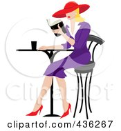 Royalty Free RF Clipart Illustration Of A Beautiful Blond French Woman Reading A Book At A Bistro Table