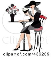Royalty Free RF Clipart Illustration Of A Beautiful French Woman Reading A Book At A Bistro Table