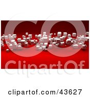 Clipart Illustration Of 3d White Cubes Floating Over A Red Background