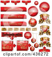 Royalty Free RF Clipart Illustration Of A Digital Collage Of Red And Gold Christmas Advertising Sales Tags by MilsiArt