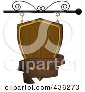 Royalty Free RF Clipart Illustration Of A Blank Wooden Shield Store Front Sign With A Brown Banner by elaineitalia