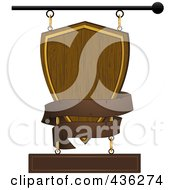 Royalty Free RF Clipart Illustration Of A Wooden Shield Store Front Sign With A Brown Banner
