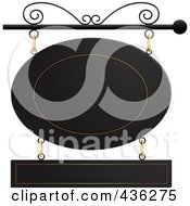 Royalty Free RF Clipart Illustration Of A Black And Gold Oval And Rectangle Store Front Sign Suspended From A Black Pole