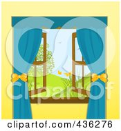 Open Window With A View Of A Spring Landscape