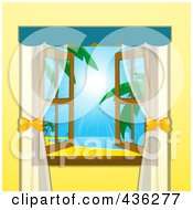 Royalty Free RF Clipart Illustration Of An Open Window With A View Of A Tropical Beach