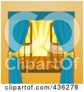 Royalty Free RF Clipart Illustration Of An Open Window With A View Of The Sun Setting Over Farmland