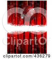 Royalty Free RF Clipart Illustration Of A Red Disco Ball Christmas Ornament Background With A Bar Of White Grunge