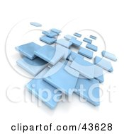 Blue 3d Blocks Floating
