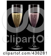 Royalty Free RF Clipart Illustration Of Glasses Of Pink And Yellow Champagne On Black by elaineitalia