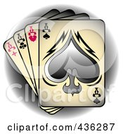 Royalty Free RF Clipart Illustration Of Tattoo Tattoo Art Tattoo Designsfour Of A Kind Aces Playing Cards Over A Shaded Circle by Andy Nortnik