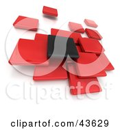 Clipart Illustration Of One Black And A Group Of Red 3d Blocks Floating
