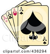 Royalty Free RF Clipart Illustration Of Tattoo Tattoo Art Tattoo Designsfour Of A Kind Aces Playing Cards by Andy Nortnik