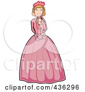 Royalty Free RF Clipart Illustration Of A Victorian Woman In A Pink Dress by Andy Nortnik