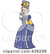Royalty Free RF Clipart Illustration Of An Old Victorian Woman Holding A Fan And Looking Over Her Shoulder