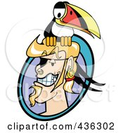 Royalty Free RF Clipart Illustration Of A Male Pirate With A Toucan Logo by Andy Nortnik
