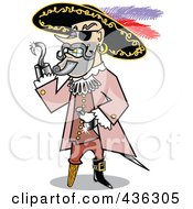 Royalty Free RF Clipart Illustration Of A Male Pirate With A Shiny Silver Hook Hand by Andy Nortnik