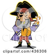 Royalty Free RF Clipart Illustration Of A Male Pirate With A Shiny Gold Hook Hand by Andy Nortnik