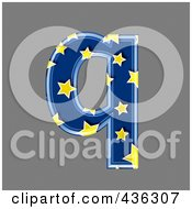 Royalty Free RF Clipart Illustration Of A 3d Blue Starry Symbol Lowercase Letter Q