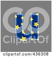 3d Blue Starry Symbol Lowercase Letter U