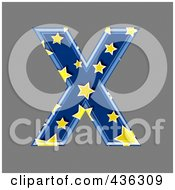 Royalty Free RF Clipart Illustration Of A 3d Blue Starry Symbol Capital Letter X