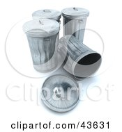 Clipart Illustration Of A 3d Group Of Metal Trash Cans One Tipped Over