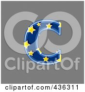 Royalty Free RF Clipart Illustration Of A 3d Blue Starry Symbol Lowercase Letter C