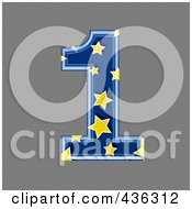 Royalty Free RF Clipart Illustration Of A 3d Blue Starry Symbol Number 1 by chrisroll