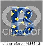 3d Blue Starry Symbol Capital Letter B