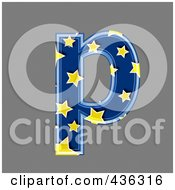 Royalty Free RF Clipart Illustration Of A 3d Blue Starry Symbol Lowercase Letter P