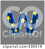 3d Blue Starry Symbol Lowercase Letter W