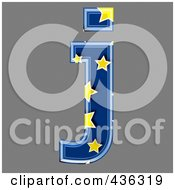 Royalty Free RF Clipart Illustration Of A 3d Blue Starry Symbol Lowercase Letter J