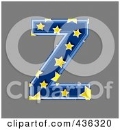 Royalty Free RF Clipart Illustration Of A 3d Blue Starry Symbol Capital Letter Z