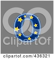 Royalty Free RF Clipart Illustration Of A 3d Blue Starry Symbol Lowercase Letter O