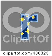 Royalty Free RF Clipart Illustration Of A 3d Blue Starry Symbol Lowercase Letter R